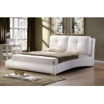 Merida Faux Leather Bed (White)